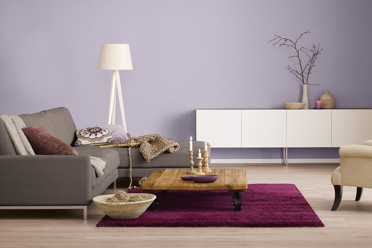 innenfarbe in grau lila streichen alpina farbrezepte edles mauve alpina farben. Black Bedroom Furniture Sets. Home Design Ideas