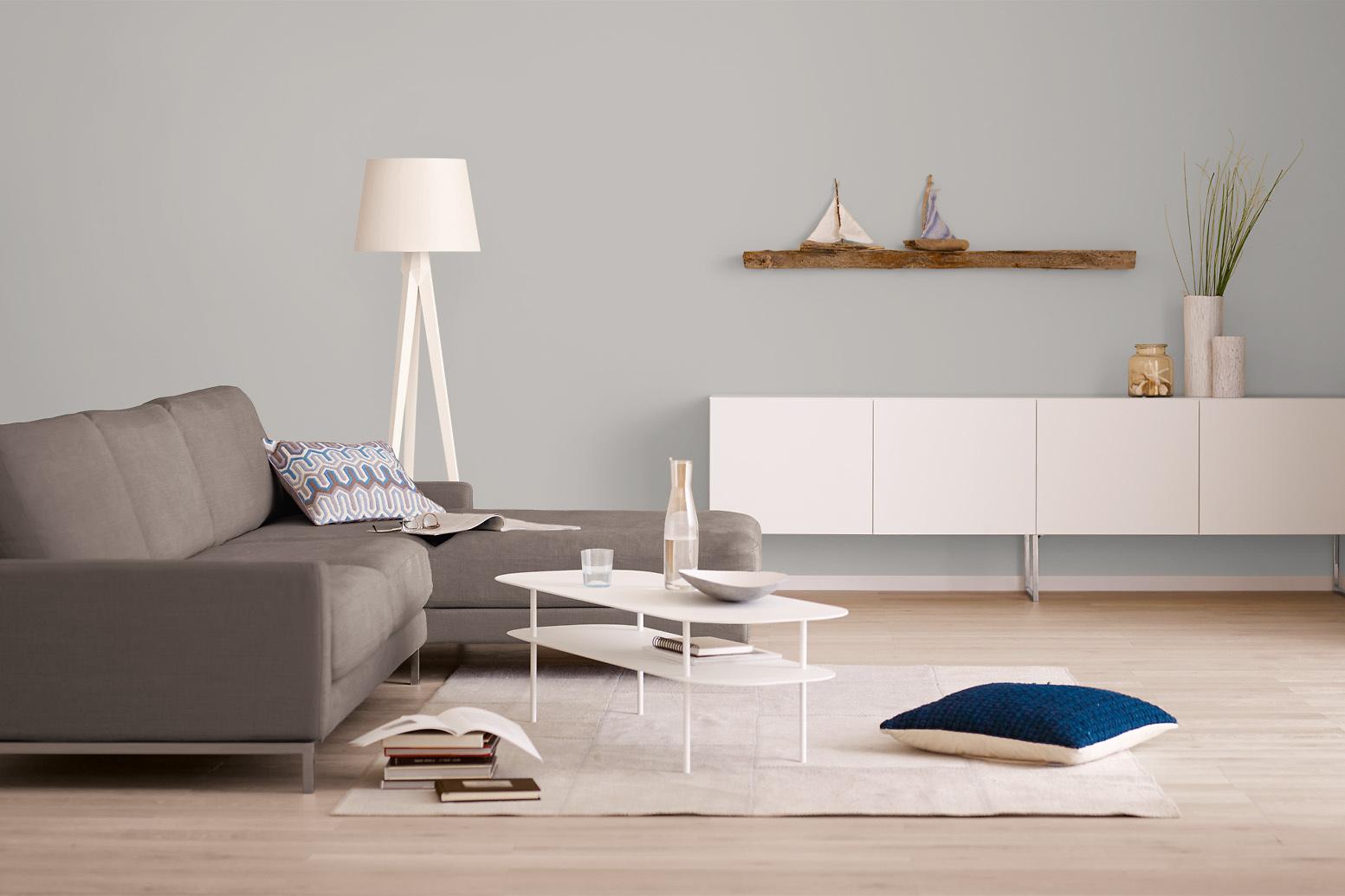 innenfarbe in grau nebelgrau streichen alpina. Black Bedroom Furniture Sets. Home Design Ideas
