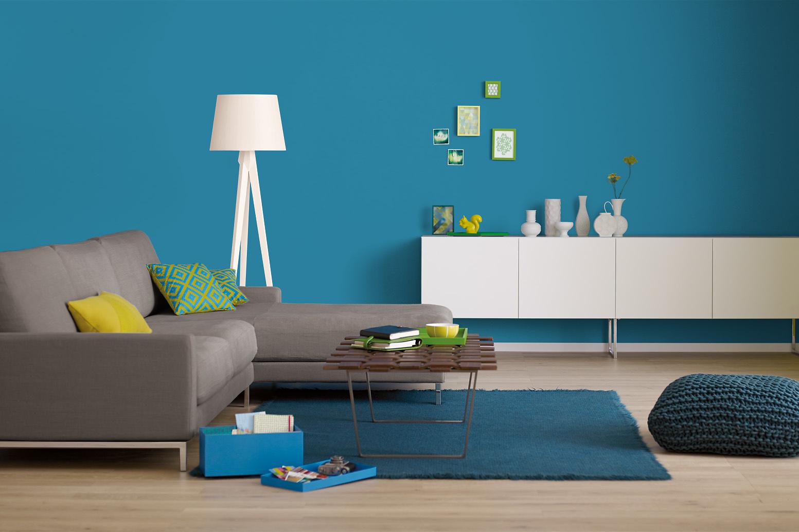 Innenfarbe In Blau, Azurblau Streichen: Alpina Farbrezepte Weiter Horizont    Alpina Farben