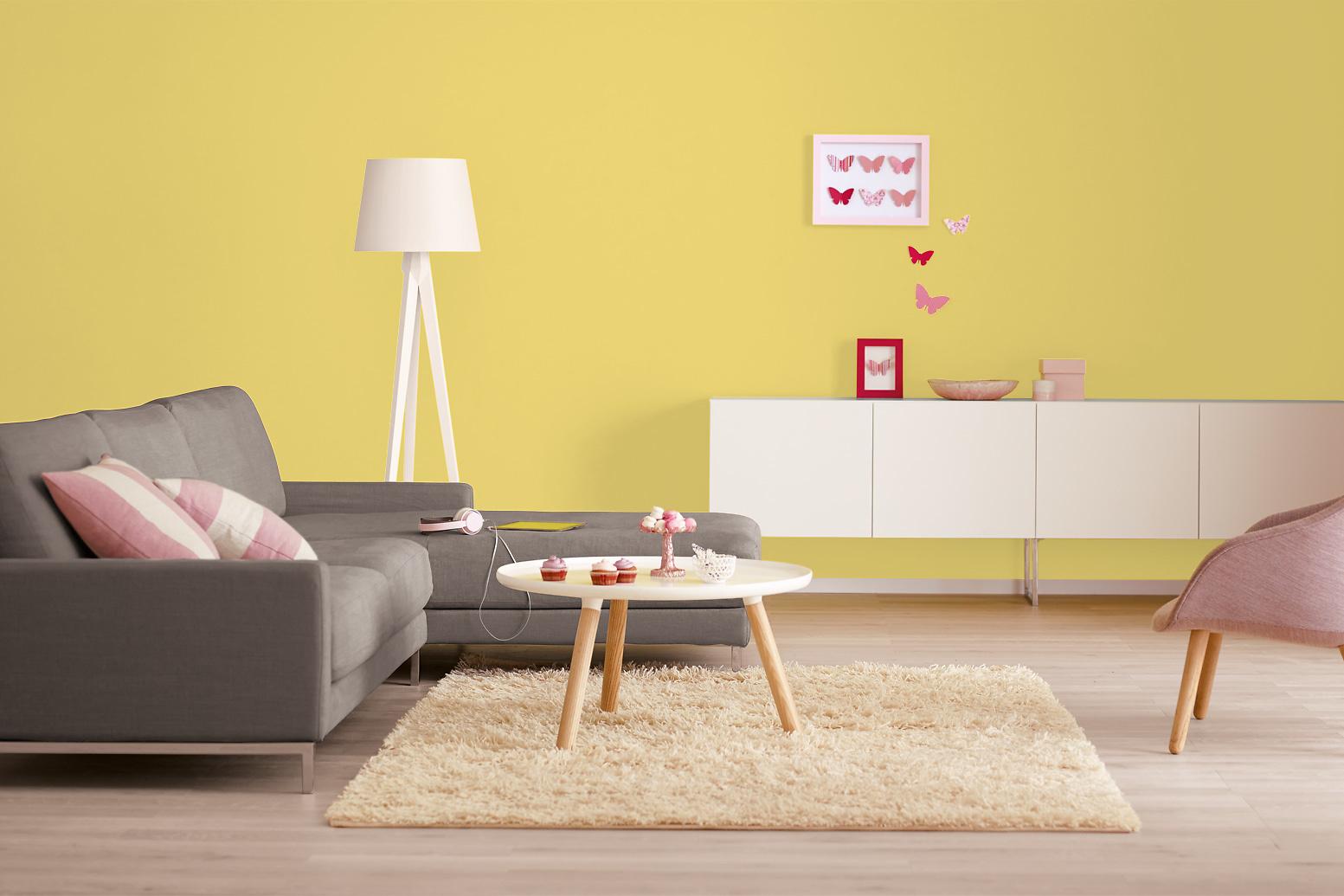 Innenfarbe in gelb sonnengelb streichen alpina - Farben gestalten wande ...
