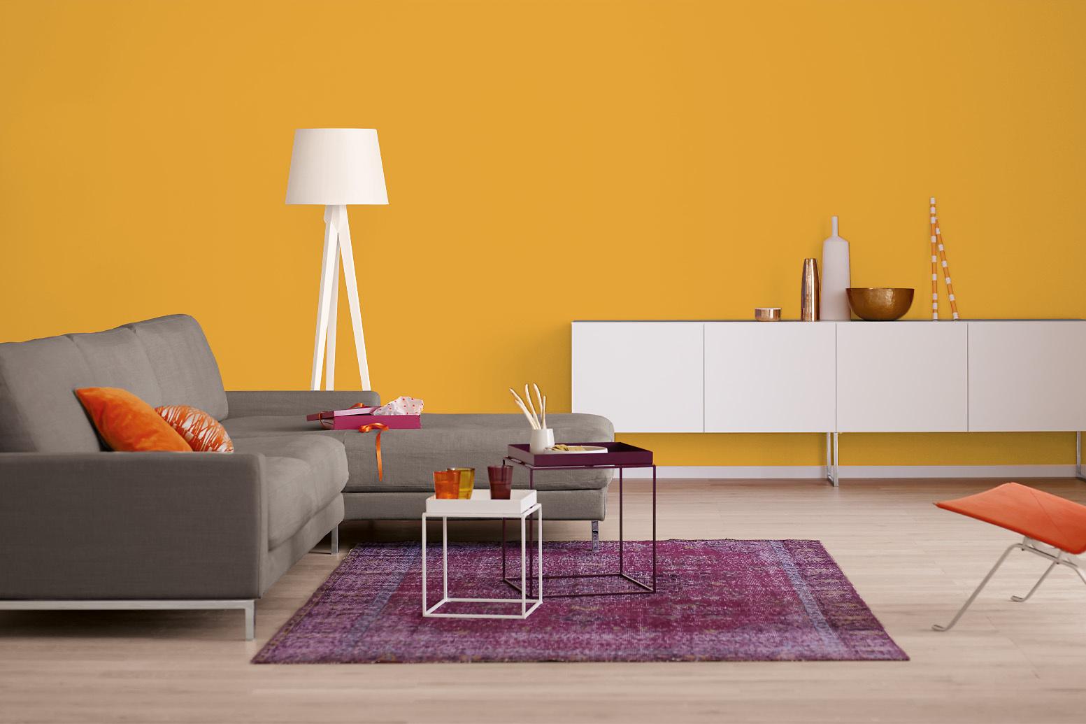 Innenfarbe In Orange Gelb Streichen Alpina Farbrezepte Happy Weekend Alpina Farben
