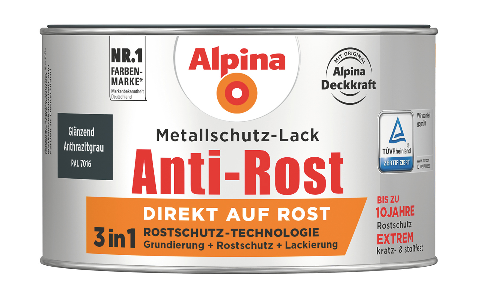 anti rost metallschutz lack gl nzend anthrazitgrau direkt auf rost alpina farben. Black Bedroom Furniture Sets. Home Design Ideas