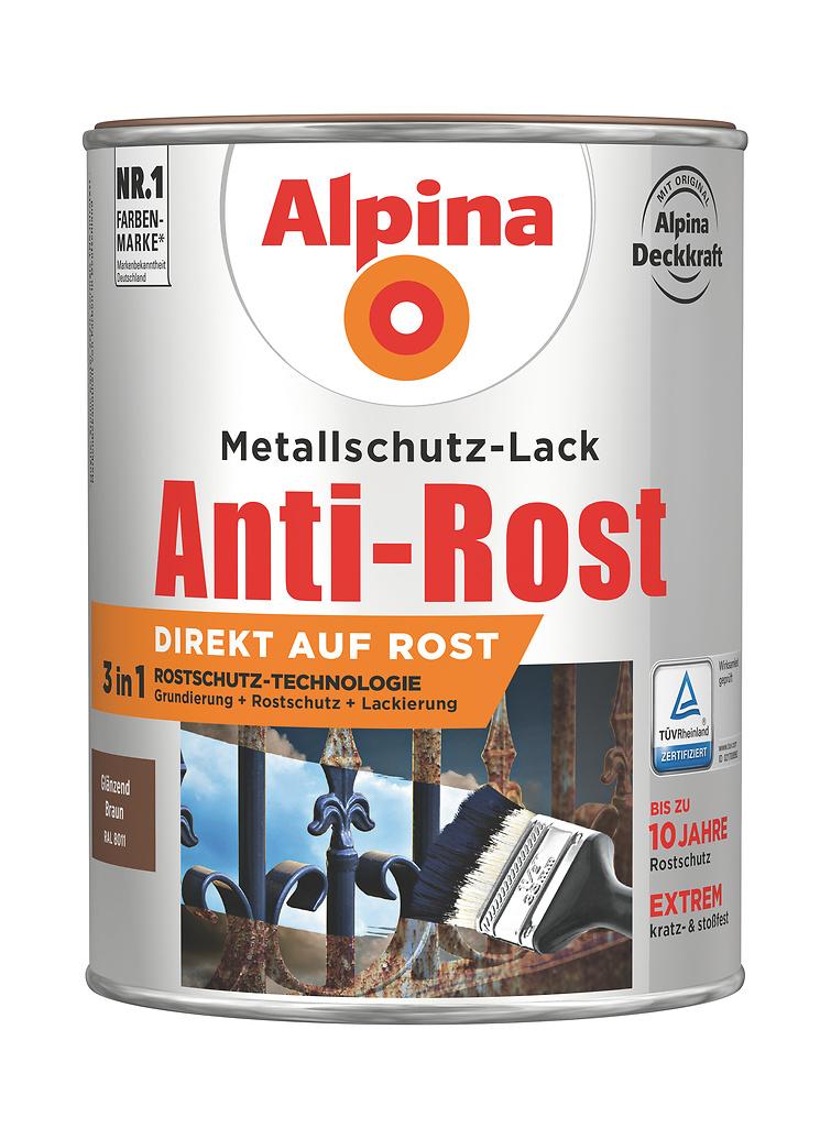anti rost metallschutz lack gl nzend braun direkt auf rost alpina farben. Black Bedroom Furniture Sets. Home Design Ideas