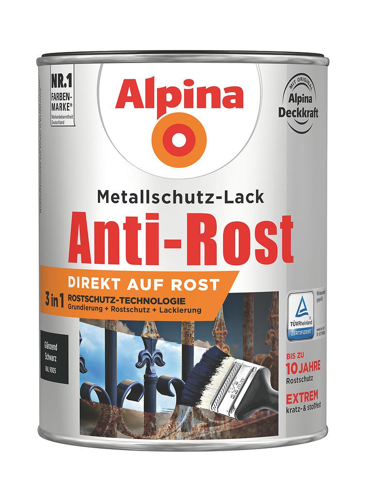 anti rost metallschutz lack gl nzend schwarz direkt auf rost alpina farben. Black Bedroom Furniture Sets. Home Design Ideas