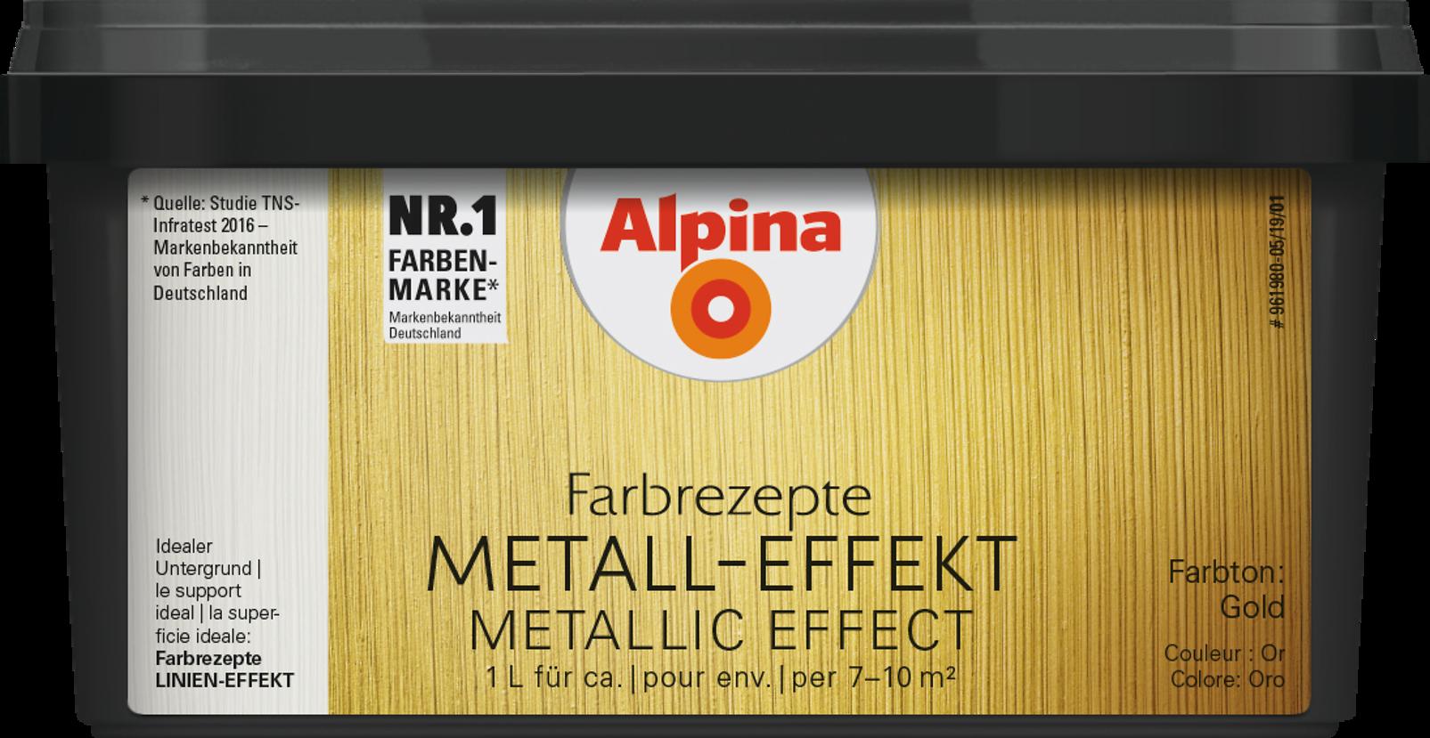 Metallic Wandfarbe, Effektfarbe Gold: Alpina Farbrezepte