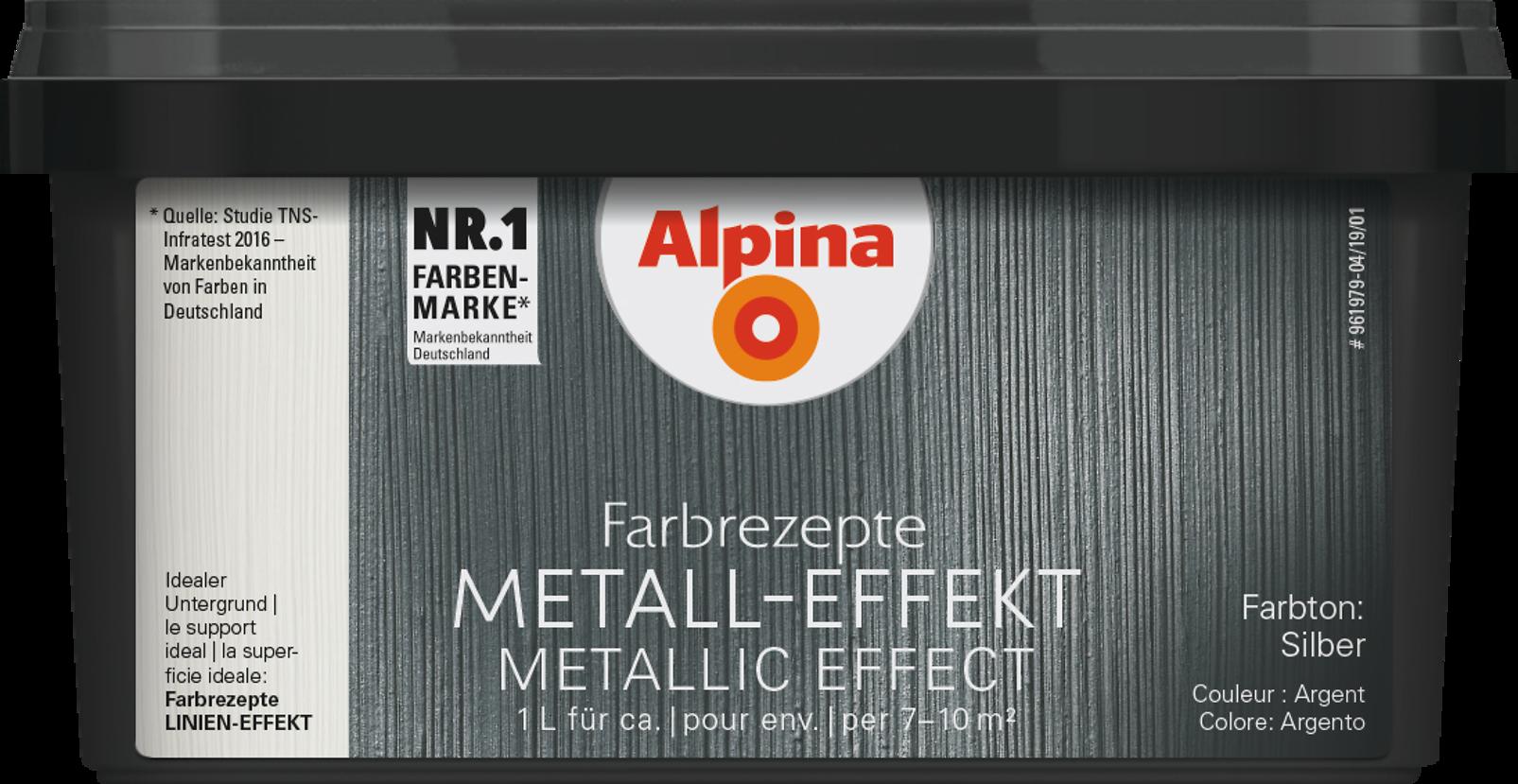 metallic wandfarbe  effektfarbe silber  alpina farbrezepte metall-effekt silber