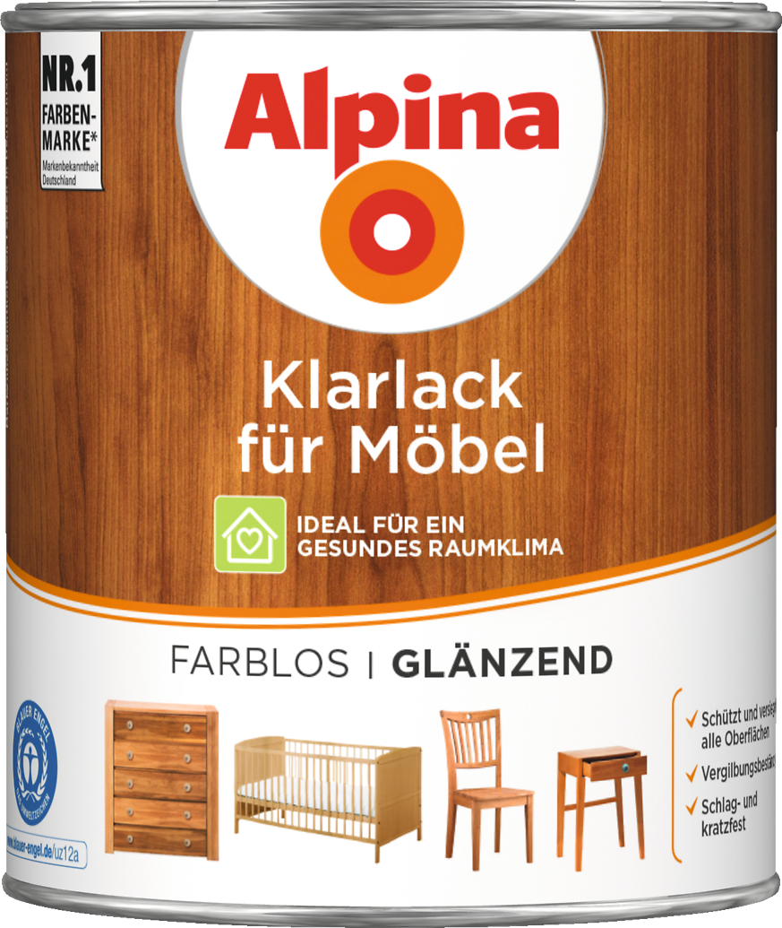 lack farblos f r holzm bel mit grundierung alpina. Black Bedroom Furniture Sets. Home Design Ideas