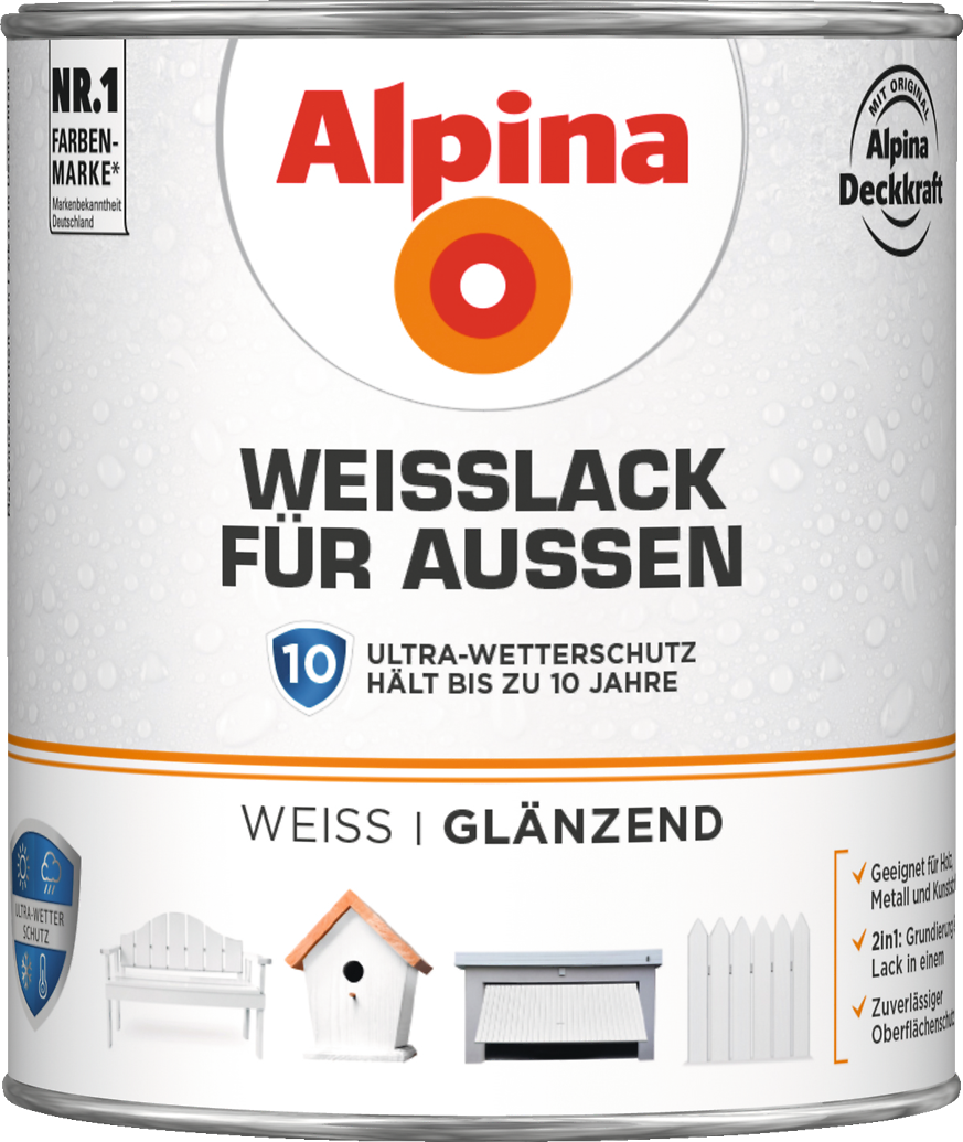 lack wei wetterfest holz metall kunststoff alpina wei lack f r au en alpina farben. Black Bedroom Furniture Sets. Home Design Ideas