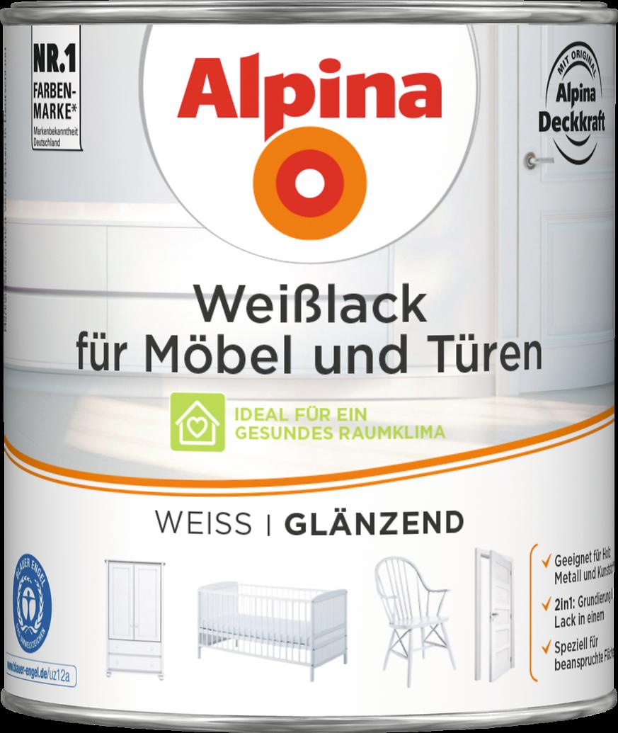 Acryl-Lack weiß mit Grundierung: Alpina Weißlack für Möbel und ...