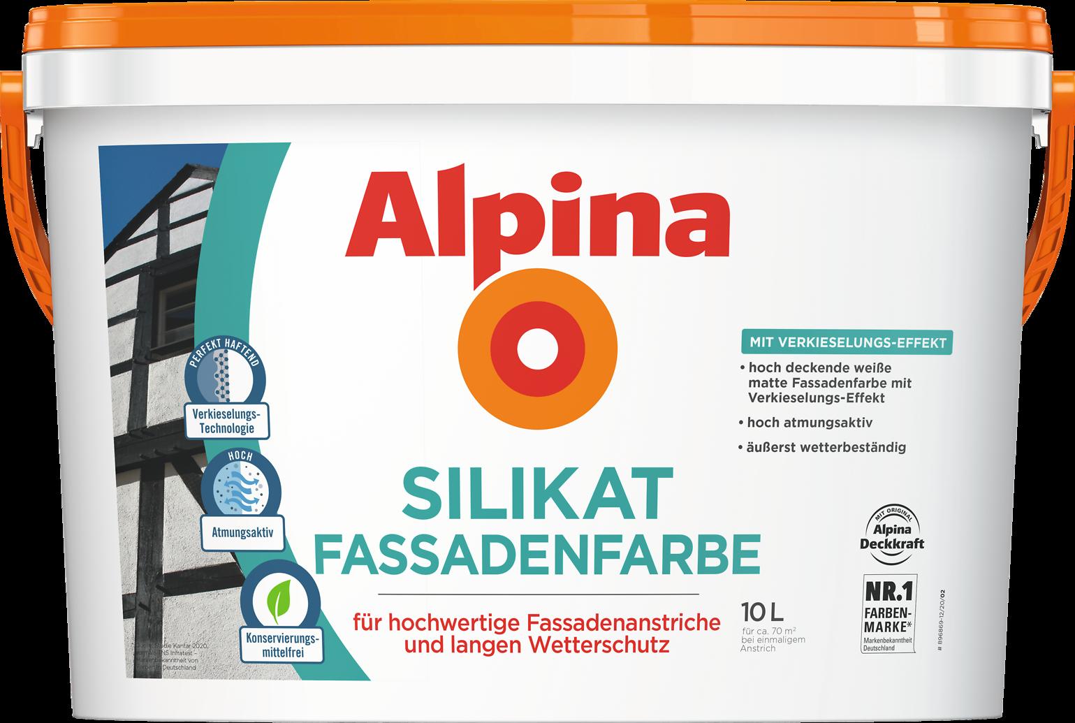 Alpina Silikat-Fassadenfarbe mitVerkieselungs-Effekt ...