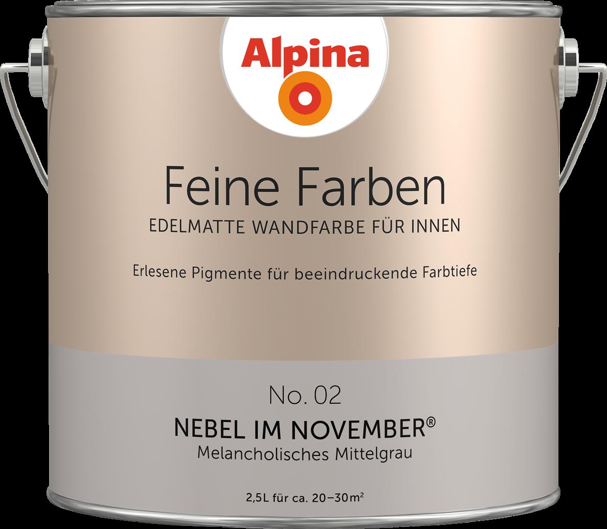 Premium-Wandfarbe. Grau, Mittelgrau: Alpina Feine Farben NEBEL IM NOVEMBER