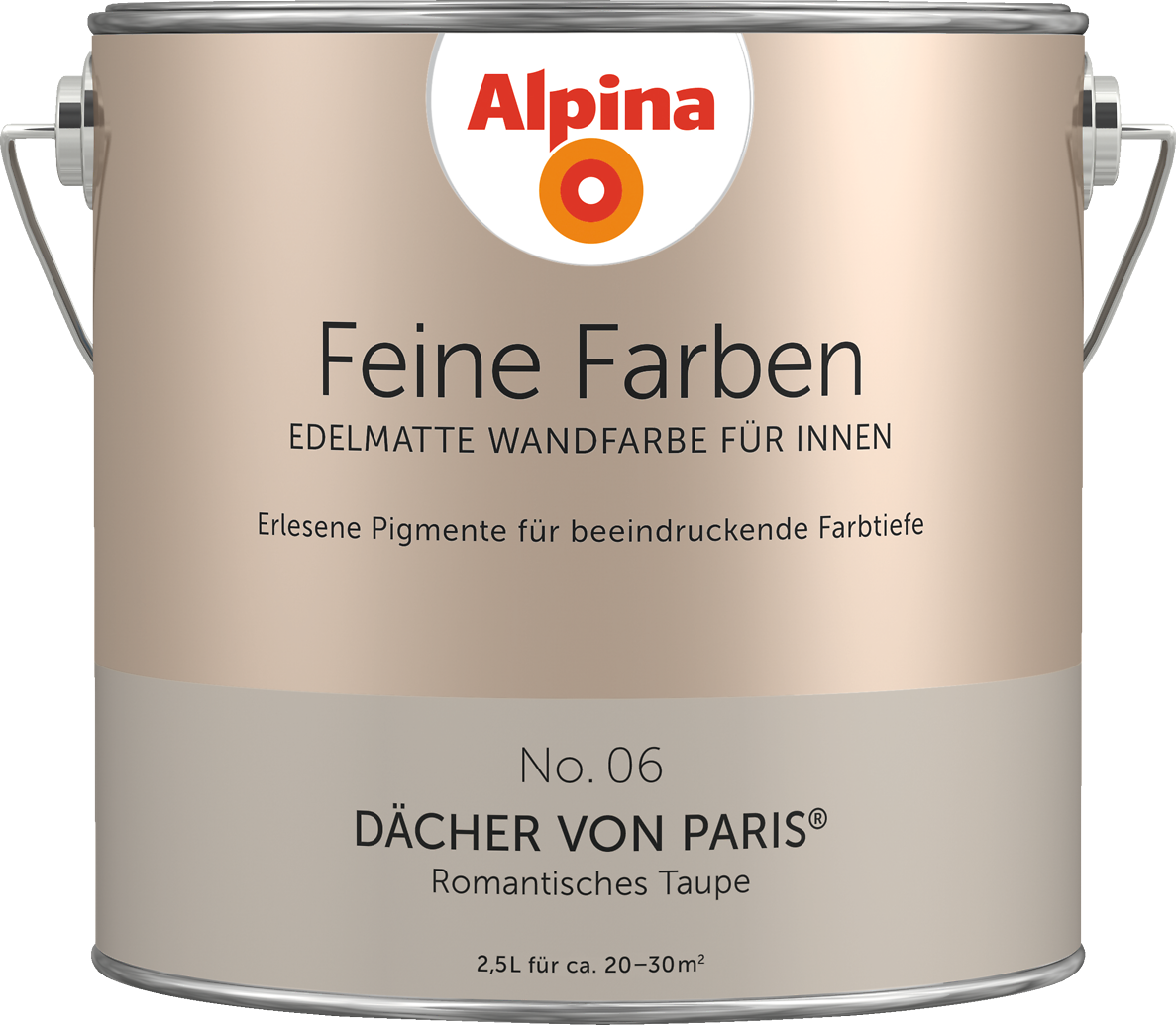 premium wandfarbe braun graubraun alpina feine farben d cher von paris alpina farben. Black Bedroom Furniture Sets. Home Design Ideas