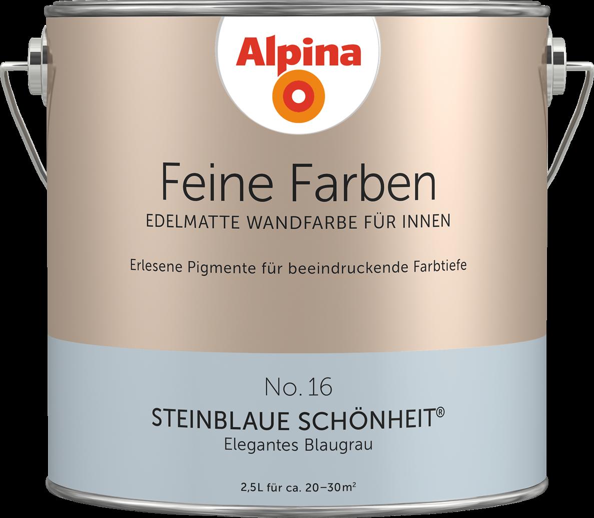 premium-wandfarbe. blau, blaugrau: alpina feine farben steinblaue ... - Wandfarbe Blau Grau