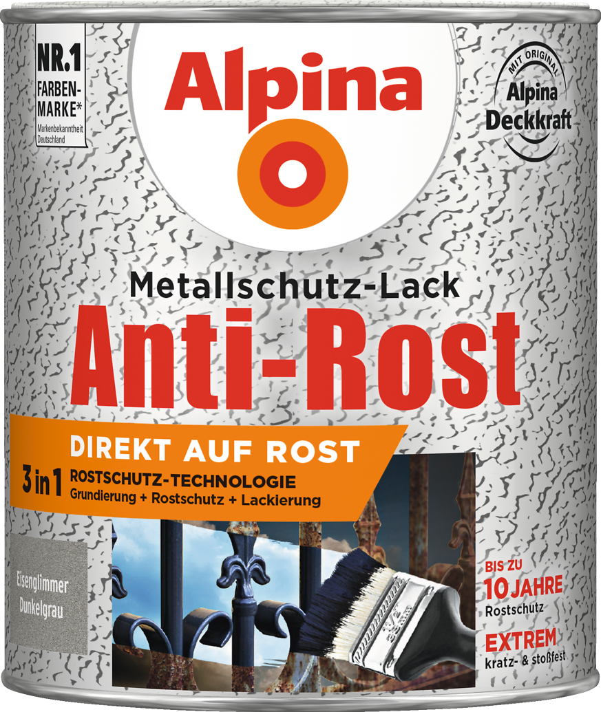 anti rost metallschutz lack eisenglimmer dunkelgrau direkt auf rost alpina farben. Black Bedroom Furniture Sets. Home Design Ideas