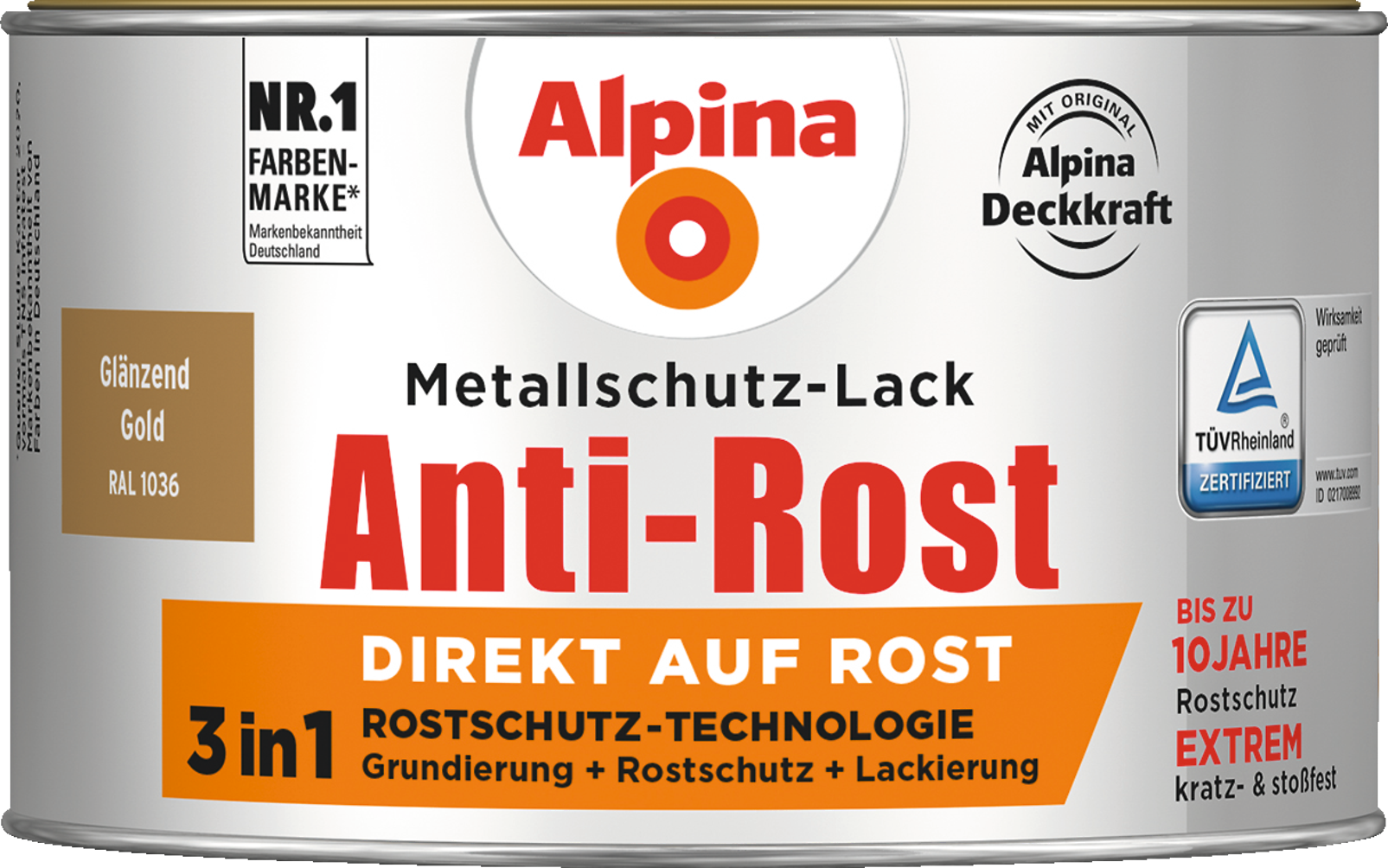 anti rost metallschutz lack gl nzend gold direkt auf rost alpina farben. Black Bedroom Furniture Sets. Home Design Ideas