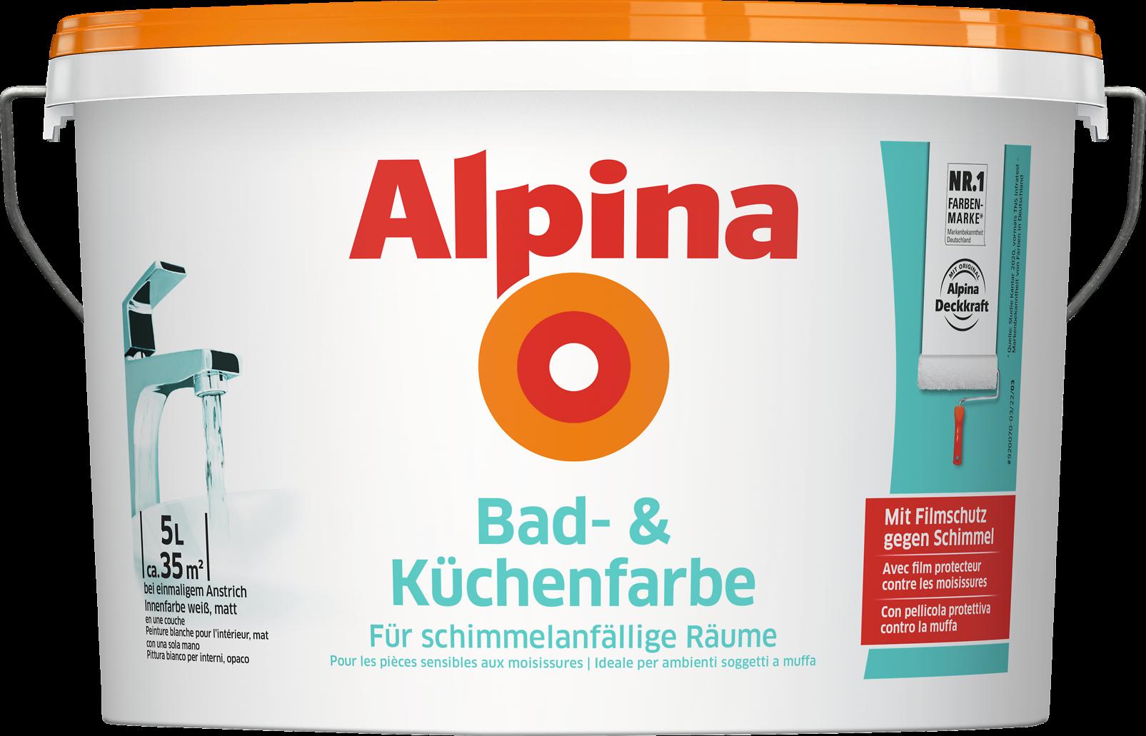 Bad- und Küchenfarbe, mit Filmschutz gegen Schimmel - Alpina Farben