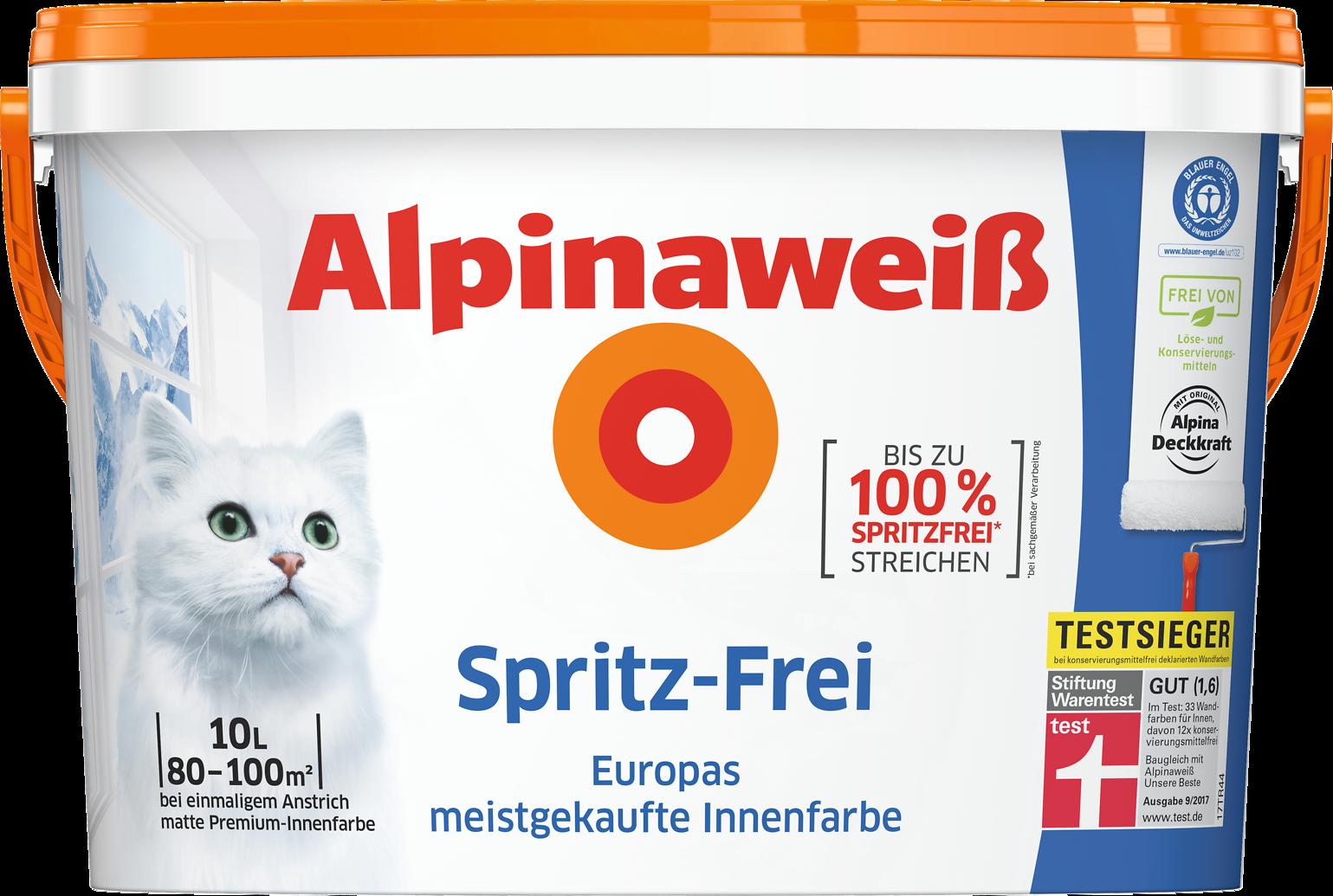 Alpinaweiß Spritz-Frei, weiße Wandfarbe, Innenfarbe, weiß - Alpina ...