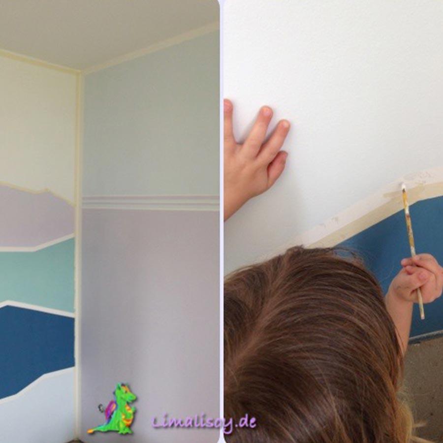 Elegant Ein Kind Bemalt Eine Wand Mit Geometrischen Linien.